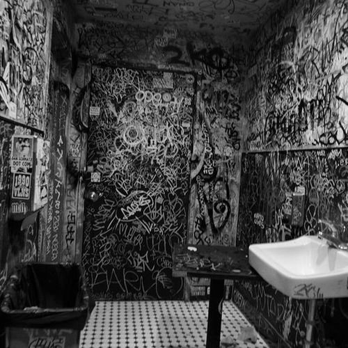 Publc Blackandwhite Graffiti Perspective , wash your hands. - Berkeley CA -October 2015