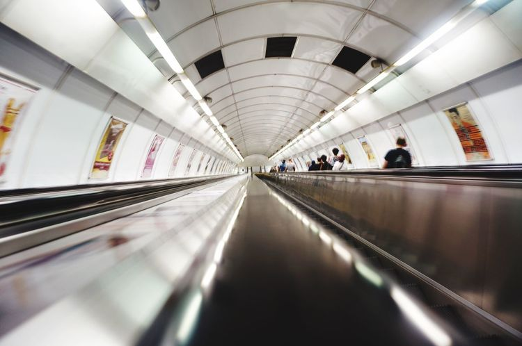 Travel Subway Station Transportation Escelator Descending White Going Down Perspective Prague Czech Republic Indoors  Convenience Conveyance Enjoying Life Motion Illuminated Public Transportation On The Move Dramatic Angles