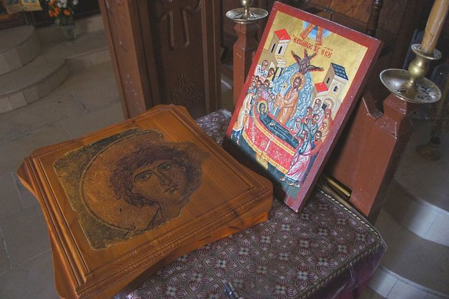 Icons in the Odigitria Monastery near Sivas Art History Byzantine Iconoclasm Chapel Crete Greece Eastern Orthodox High Angle View Holy Art Icon Indoors  Monastery No People Orthodox Church Religion Symbol Table Art Is Everywhere