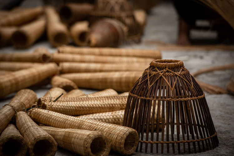 Close-up of stack of wicker basket