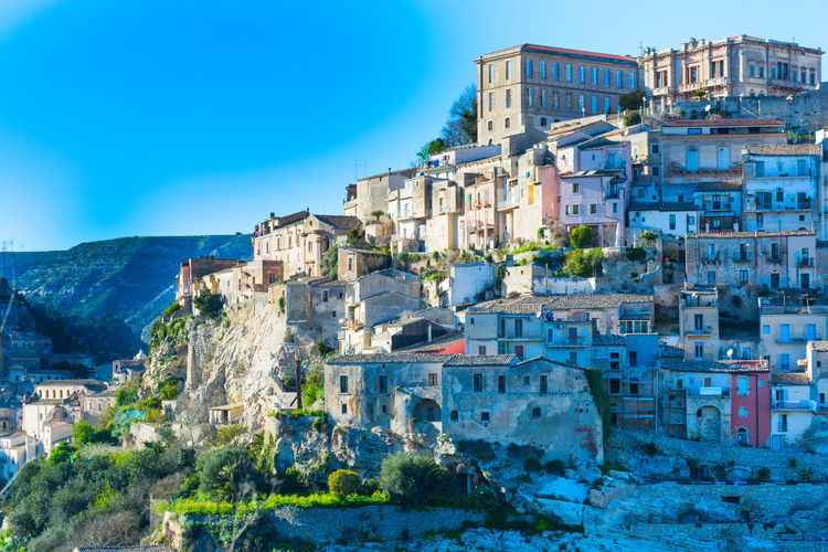 Architecture Building Exterior Built Structure Building Blue Sky City Residential District Nature Clear Sky History The Past Outdoors Old Sunlight House Travel Destinations Ragusa Ragusa Ibla, Sicily Ragusa Ibla Ibla Sicily Sicily, Italy Sicily ❤️❤️❤️ Sicilyphotography