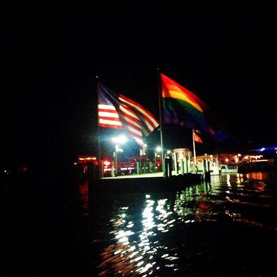 Flag Night Illuminated Patriotism No People Water Gay Pride Pride Gaypride Rainbow Rainbow Flag Rainbowflag