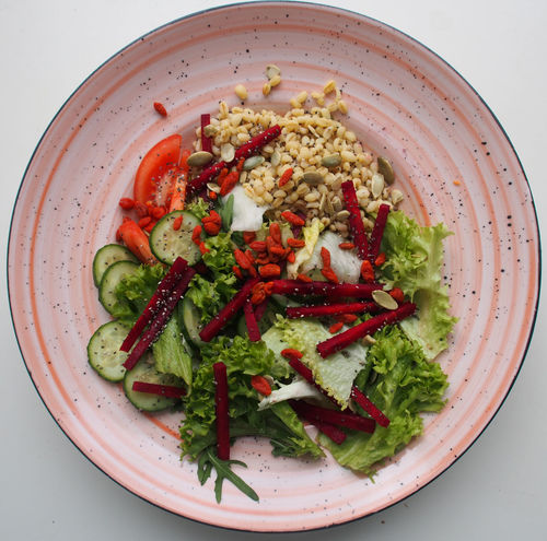 Rice Salad Chicken Fillet Close-up Food Food And Drink Freshness Healthy Eating Indoors  No People Plate Ready-to-eat Studio Shot Vegetable White Background