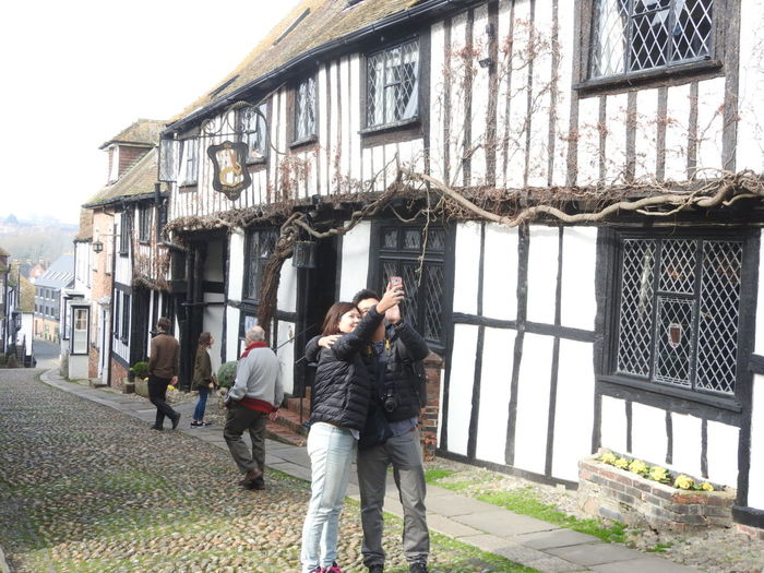 Adult Architecture Building Exterior Built Structure Leisure Activity Mermaid Inn Real People Selfie Togetherness Tourist Attraction  Two People