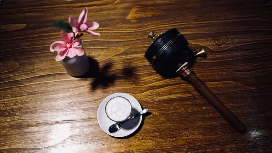 Table Still Life Wood - Material High Angle View Indoors  Freshness Flower