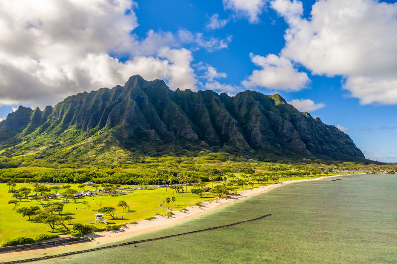 Hawaii Honolulu  Oahu Cloud - Sky Sky Scenics - Nature Beauty In Nature Plant Landscape Nature Tranquility Environment Day Mountain Tranquil Scene Grass Green Color Tree No People Land Non-urban Scene Mountain Range Idyllic Outdoors