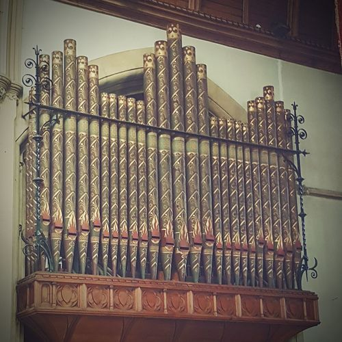Low Angle View Pattern Built Structure Architecture St Martin's Church Indoors  Church Organ Pipes Organ Pipes