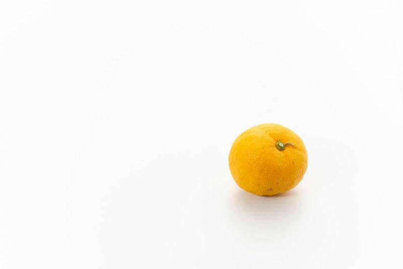 Citron, Japanese YUZU Fruit Citrus Fruit Healthy Eating Wellbeing Food Food And Drink Freshness Still Life Indoors  Close-up Orange Color Orange Orange - Fruit No People Yellow Citron Yuzu Studio Shot White Background Copy Space Cut Out Single Object