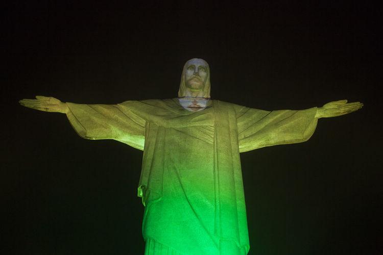 Brazil Colors Cristo Redentor Green Color Nightphotography Rio De Janeiro America Human Representation Night No People Outdoors Sculpture South America South American Statue