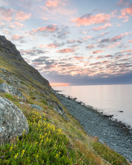 Beach Beauty In Nature Cloud - Sky Coast Coastline Evening Green Color Green Grass Iceland Long Exposure Mountain Nature Nature No People Outdoors Sea Sunset Travel Travel Destinations Vacation Westfjords