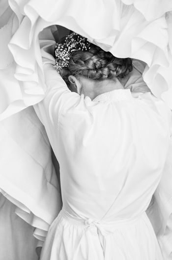 Bride Dressing Up Fashion High Key High Key Photography Innocence Plaits Tradition Traditional Costume Traditional Wedding Wedding Wedding Day Wedding Dress White White Dress Woman Black And White Friday