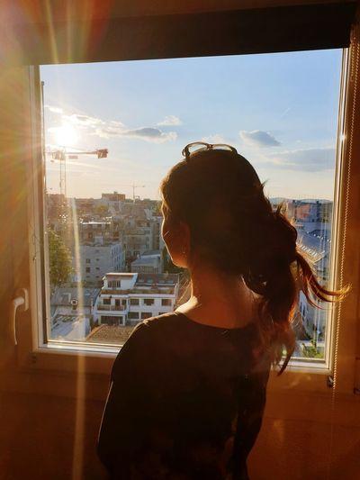 Dream Sunset Girl Dream Cityscape Looking Through Window Window Domestic Life Sky