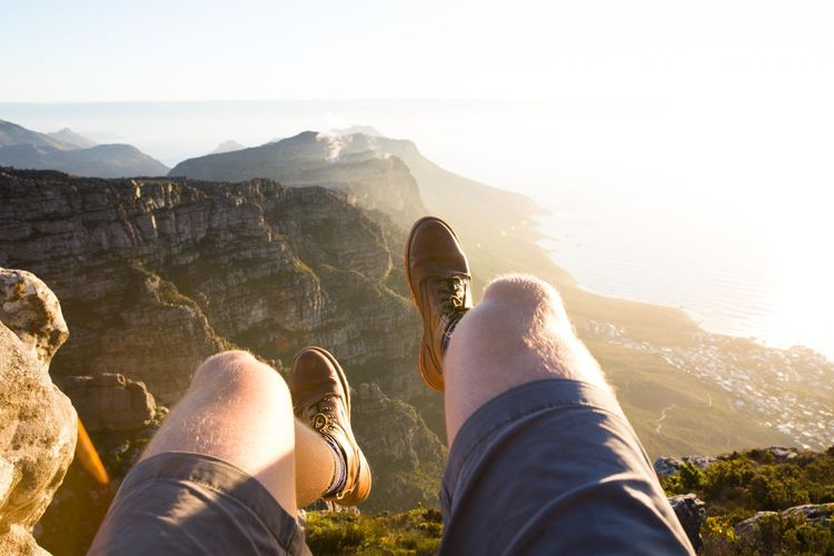 Exploring Table Mountain in Cape Town, South Africa. Adventure Beauty In Nature Hiking Landscape Leisure Activity Lifestyles Low Section Men Mountain Nature Person Personal Perspective Shoe Tranquility