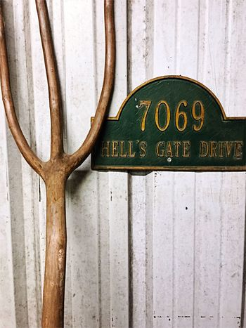 Lieblingsteil Sign Pitchfork Communication Wood - Material Old Old-fashioned Antique Tools Antique Tools Man Cave