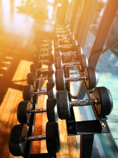High angle view of dumbbells on rack in gym