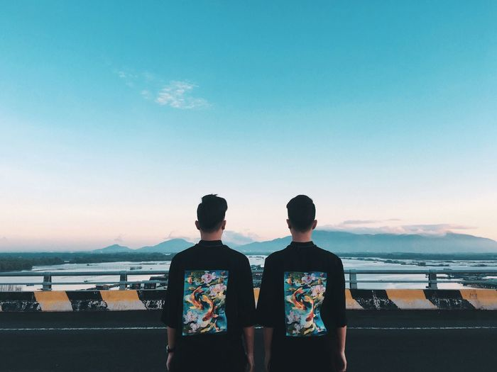 Vietnam Twins Journey Sky Two People Sea Water Nature Rear View Togetherness Beauty In Nature Beach Outdoors Lifestyles