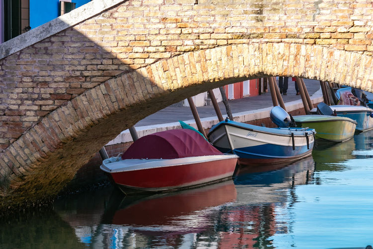 Boat moored in canal