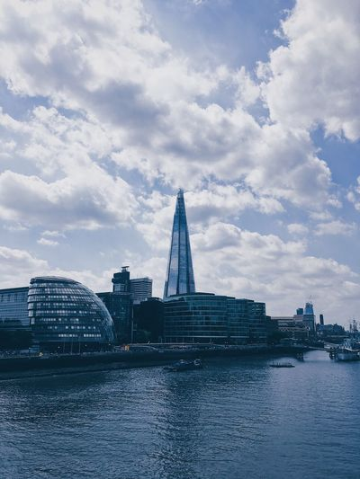 The Shard Building, London. Architecture Building Exterior Built Structure City Cityscape Cloud - Sky Day Modern Nature No People Outdoors River Sky Skyscraper Travel Travel Destinations Urban Skyline Water Waterfront