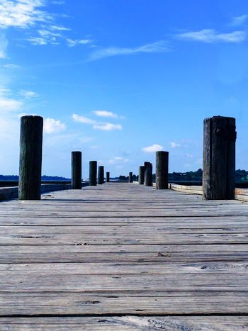 Sky Wood Lake Pier Diminishing Perspective The Way Forward Blue Blue Sky Surface Level Boardwalk Outdoors Diminshing Perspective Wooden Planks Architecture Sky And Clouds Pole Tranquility Tranquil Scene Showcase August Eyeemphoto