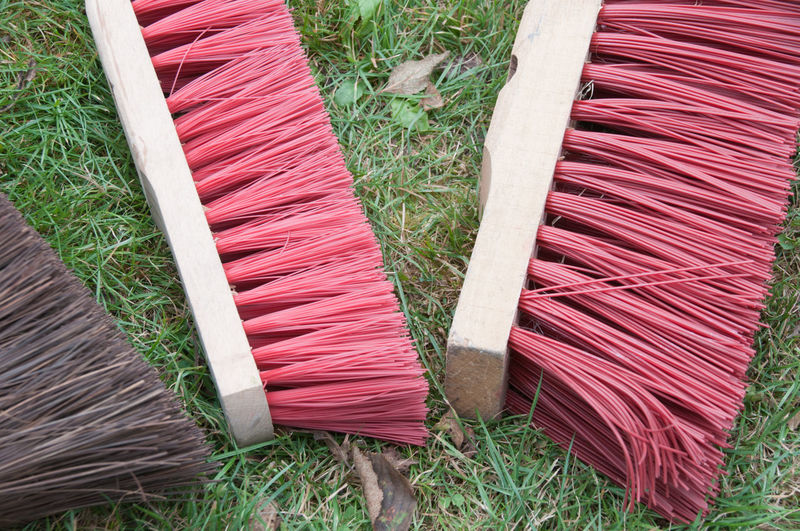 Cleaner Bristles Brum Brush Close-up Day Floor Grass High Angle View Nature No People Outdoors Red Stack