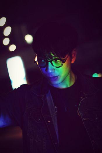 Colorful Light Falling On Man