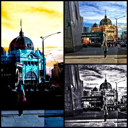 A few different apllications applied to the magnificent Flinders Street Station in Iconic Melbourne 3 Of One