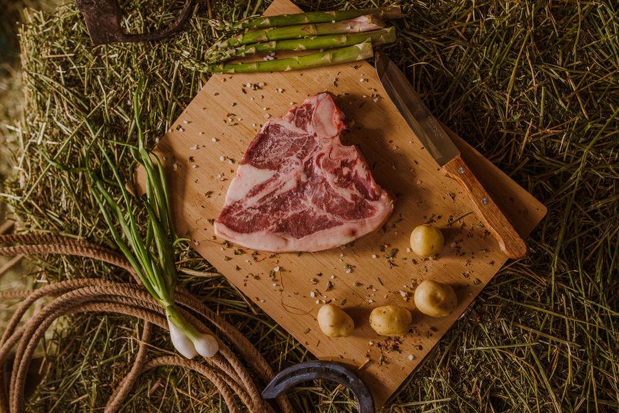 Farm Life Beef Close-up Day Food Freshness Meat No People Raw Food Rib Steak T Bone T-bone Tbone Vegetables