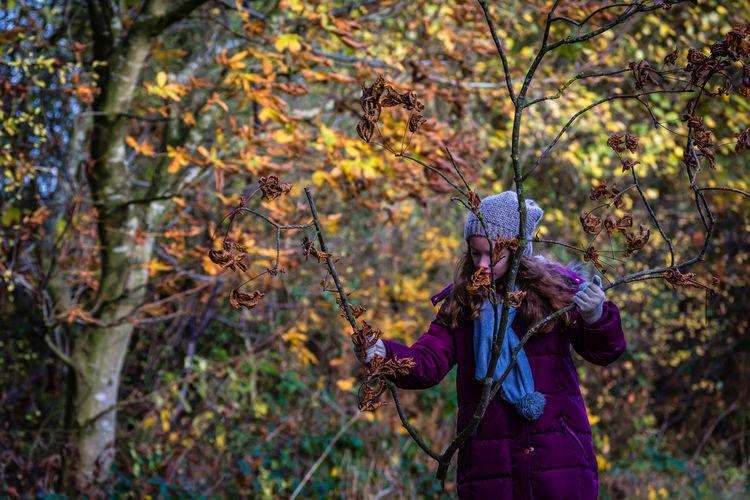Man in autumn tree