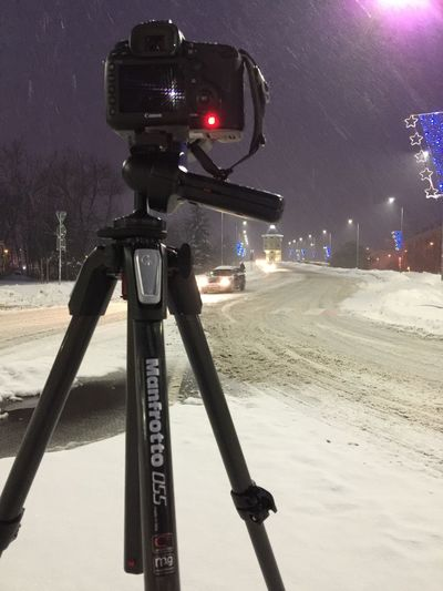 Keep on shooting📸📸📸✌🏻️ Winter Snow Illuminated Cold Temperature Transportation Camera - Photographic Equipment Technology No People Outdoors Night Nature Sky Tripod Manfrotto Canon Tripod Photography Longexposure BTS IPhone IPhoneography Iphone6 Neighborhood Map