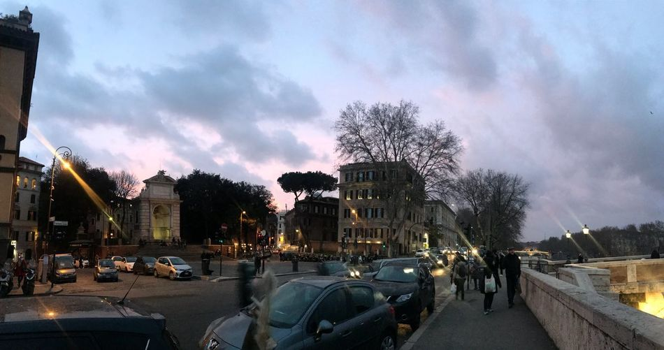 Clouds Twilight Dusk Sky Piazza Trilussa Trastevere Italia Roma Italy Rome Tree Architecture City Plant Building Exterior Built Structure Street Nature