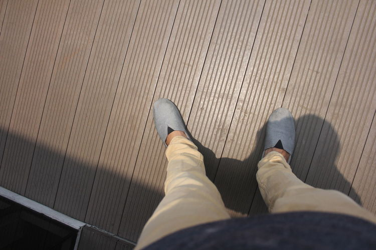 Shoes Low Section Human Leg Standing Personal Perspective High Angle View Men Jeans