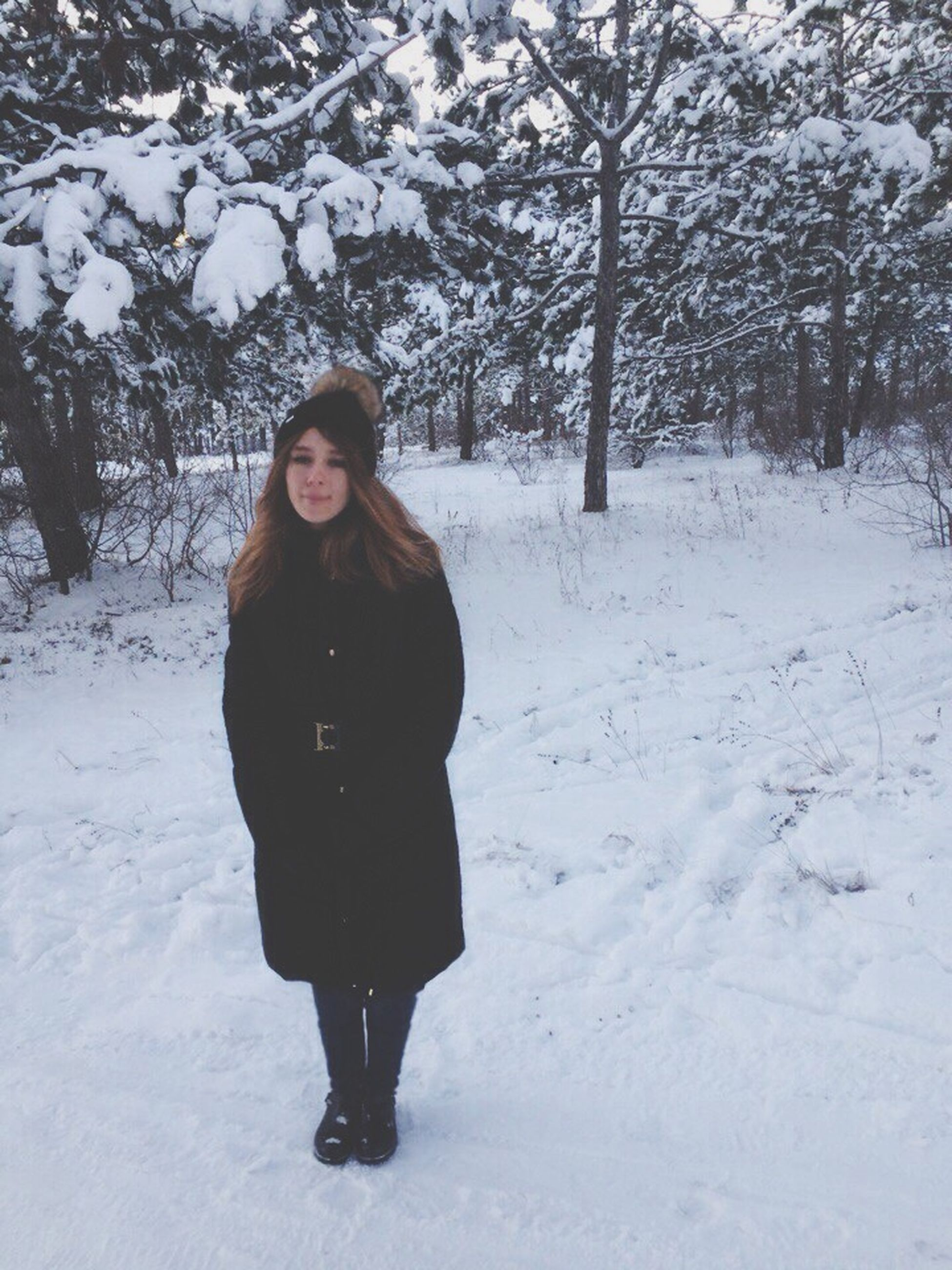 winter, snow, cold temperature, looking at camera, portrait, warm clothing, one person, beautiful woman, full length, standing, tree, beauty, young adult, front view, beautiful people, young women, one young woman only, one woman only, only women, outdoors, people, smiling, nature, leisure activity, adults only, day, real people, beauty in nature, adult