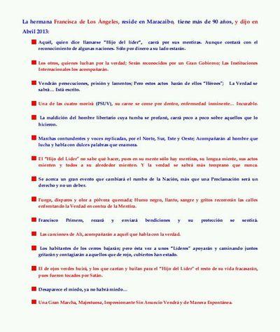 Check This Out Estudiantesatomarlacalle ResistenciaVzla Elquesecansapierde Buen día a todos, para mí, lo de anoche no fue un Diálogo, eso fue simplemente una Pantomima más del Gobierno, negociaron con los de la MUD para hablar como lo hicieron, a fin de que los que viesen el programa a nivel mundial, sobre todo los venezolanos que tienen gríngolas sigan creyendo en el Nicolás, y comenten que aquí si hay Democracia, no una Dictadura… el vendido de Julio Borges, es el espía del Gobierno dentro de la Oposición. Yo en verdad, estoy decepcionada de los pocos dirigentes políticos que tenemos hoy día en Venezuela, negociaron con Chávez y ahora con Nicolás para que les sigan dejando sus alcaldías o Gobernaciones. Tenemos una Oposición comprada como en CUBA. Debemos poner nuestra confianza en DIOS… pero también en quiénes vayan labrando terreno para el bienestar de Todos... Yo conozco la labor de Leopoldo.... durante sus 2 períodos en Chacao... es trabajador, honesto y se preocupa por su Gente... la Gran Mayoría de los Habitantes del Municipio Chacao... Creemos y Confiamos en él.... porque él quiere una País de Avance... con Calidad de Vida... como hizo su labor mientras fue Alcalde. Si, seguimos en la CALLE Todo Tendrá Solución, Tendremos Apoyo… que vendrá de Dios, tengámoslo por seguro... pero nosotros como Población Civil... debemos seguir en Pié de Lucha por la Liberación de Venezuela... RECORDEMOS todo lo que Lograron Gandhi y Mandela. Me pregunto… ¿De qué sirve que por ejemplo... que anoche Capriles le habló de Tú a Nicolás y cuando le tocó el turno a Andrés Velásquez, dijo algunas cosas de las que están pasando desde hace un buen tiempo… si por decir algo… Capriles No Se Ha Puesto Los Pantalones... cómo debe ser, dejó perder todos los votos que consiguió a través nuestro cuando la última votación contra Chávez y ahora contra Maduro…? Tocando el punto de lo que dijo el tipo de los Tupamaros… ¿ están luchando para el Premio Nobel de la Paz a Maduro??? ¡por Dios! Que aqu