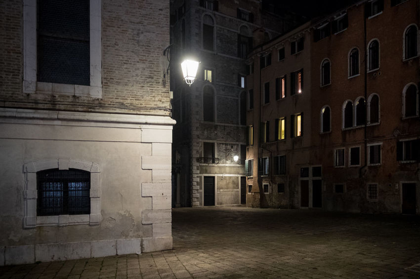 Dark Square Architecture Building Exterior Built Structure Illuminated Lighting Equipment Night No People Outdoors Street Light Venice Wall Lamp Window