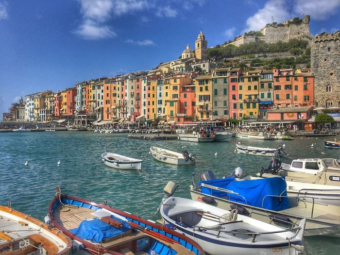 Portovenere Summer Italy Architecture Building Exterior Built Structure Mode Of Transport Nautical Vessel Transportation Sky Water City Cloud - Sky Outdoors Moored