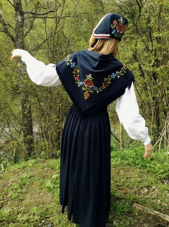 The Norwegian national costume the bunad from behind, model Rogalandsbunad. Norway Bunad National Costume Colors
