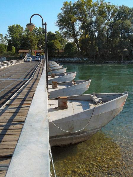 Il ponte di barche sul Ticino Bereguardo Blue Boat Bridge Day Floating Bridge Nature Outdoors Sky Ticino River Tranquil Scene Tranquility Transportation Tree Water Water Reflections