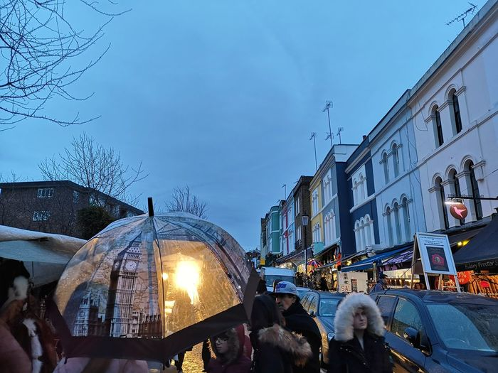 Portobello market Winter Weather Huawei P20 Pro Huwaei Photography London England Portobello Market Portobello Road England London Umbrellas Market City Illuminated Cold Temperature Winter Snow Sky Architecture Building Exterior Christmas Market City Street Rush Hour Stall