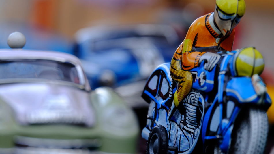 Motorcycle Tin Toys Toys Blue Close-up Focus On Foreground Helmet Tin Car Tincycle Second Acts Be. Ready. Mobility In Mega Cities