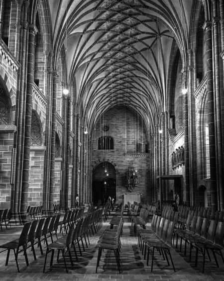 In A Row Chair Religion Indoors  Architecture Bnw Monochrome Blackandwhite Photography Black And White Black & White EyeEm Awards 2017 Built Structure Chair Architecture Indoors  In A Row Church Spirituality