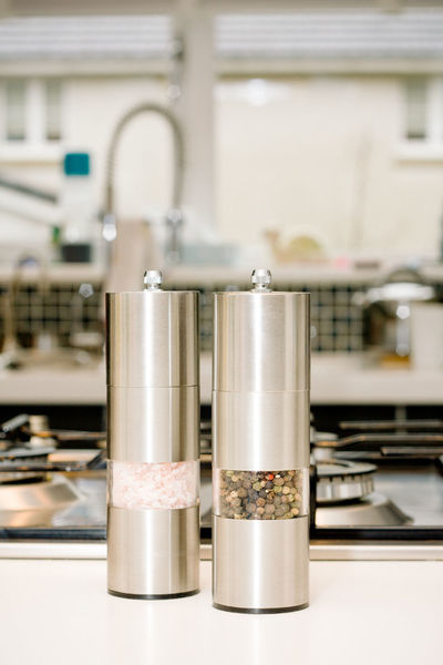 Close-up Focus On Foreground Ground Pepper Indoors  Kitchen Kitchen Utensils Metal Peppercorns Salt And Pepper Salt And Pepper Shakers Still Life