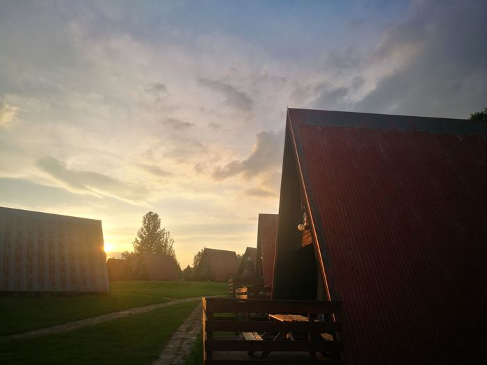 Beautiful sunset after hard day 😍 Nature Heat Hard Day Studying Holiday Cottages Practicing Warm Colors Day Happy Brown Green No People Beauty In Nature Sunset Sky Architecture Built Structure Tranquility Tranquil Scene Calm Non-urban Scene