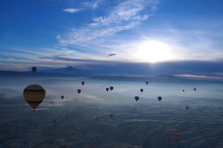 Hot air balloons flying at cappadocia