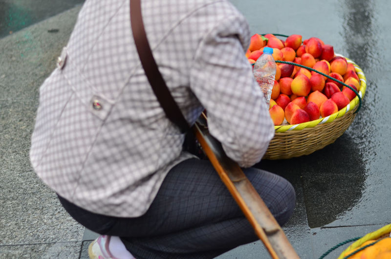 High angle view of man and fruits in basket