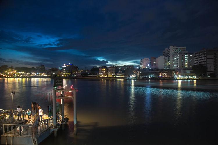 Bangkok Calm Chaopraya River City Cloud Cloud - Sky Harbor Light Night Outdoors Scenics Sky Thailand Tourist Attraction  Twilight Water Waterfront
