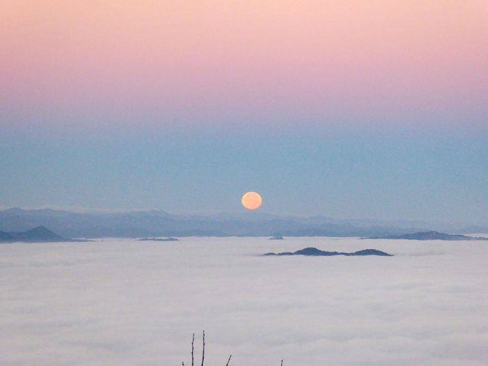 Full moon at sunrise Pretty In Pink Bolonie Style Beauty In Nature Beauty Unreal Like A Painting Art Peaceful Colours Colors Bolonie Art Sunrise Sunrise & Full Moon Bolonie Nature Beauty In Nature Moon Scenics Tranquil Scene Tranquility Food Stories Outdoors Sky No People EyeEmNewHere