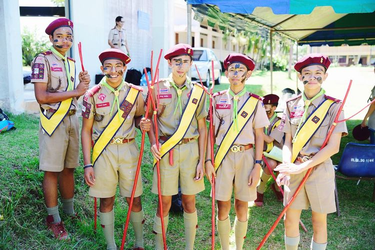 Scout camp Happy Scouting Scout Boy Traditional Clothing Celebration Group Of People Clothing Real People Arts Culture And Entertainment Day