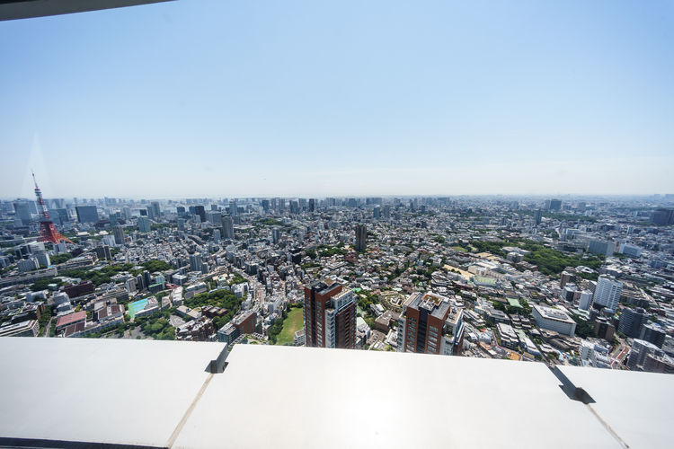 High angle view of buildings against sky
