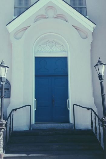 Blue Blue Door White Building Architecture Built Structure Light Post Wooden Stairs Church Door No People Outdoors Day