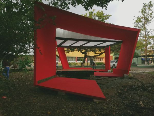 Pabellon de Taller 1_1 Built Structure Architecture Day Outdoors Sky Grass No People Tree Geometric Shapes Geometry Free Pavilion Arquitectura Pabellon Student Life Red Construction Teamwork